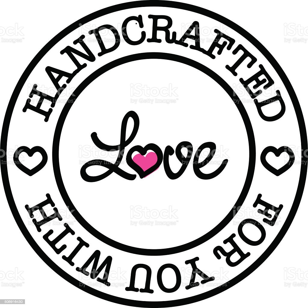 Handmade For You With Love Vector Retro Badge Stock Vector ...