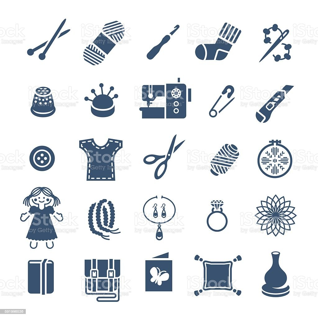 Handmade hobby activities vector flat silhouettes icons vector art illustration