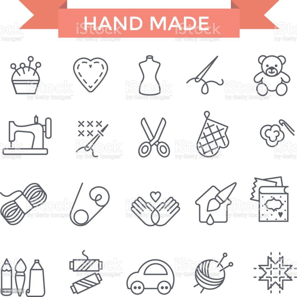 Ícones feitos à mão. - ilustração de arte em vetor