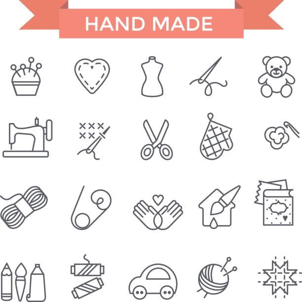 handgefertigte ikonen. - hausgemacht stock-grafiken, -clipart, -cartoons und -symbole