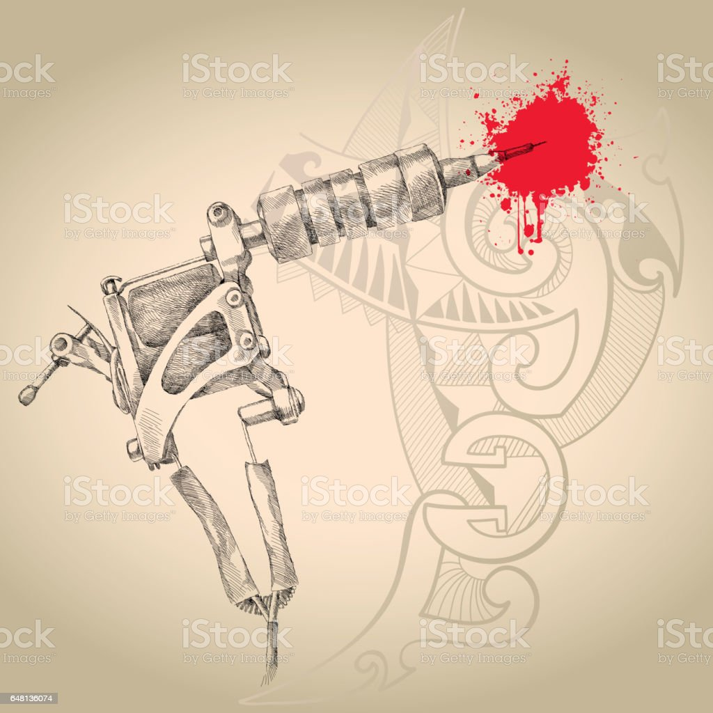 Handmade Induction Tattoo Machine In Black On The Beige Background Gun Diagram With Polynesian Design Royalty