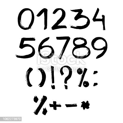 istock Handmade ink brush numbers 1,2,3,4,5,6,7,8,9,0. Vector calligraphy numerals and sign. Calligraphic illustration 1062273970