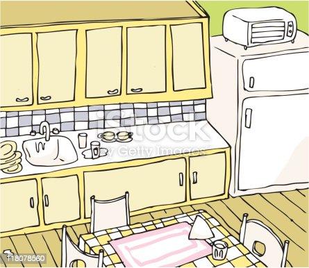 Vetor de cozinha ilustra o feita m o e mais banco de for Mobilia domestica