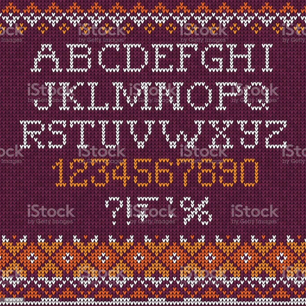 Handmade Knitted Abstract Background Pattern Font Alphabet Abc ...