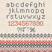 Handmade knitted abstract background pattern with alphabet