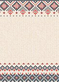 Vector illustration Handmade knitted abstract background pattern with scandinavian ornaments. Orange, purple, white colors. Flat style. Greeting Card, poster, banner, invitation template
