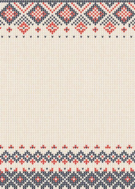ilustraciones, imágenes clip art, dibujos animados e iconos de stock de handmade knitted background pattern with scandinavian ornaments. - moda de otoño