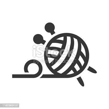 Handmade Knitted Logo Icon on White Background. Vector illustration