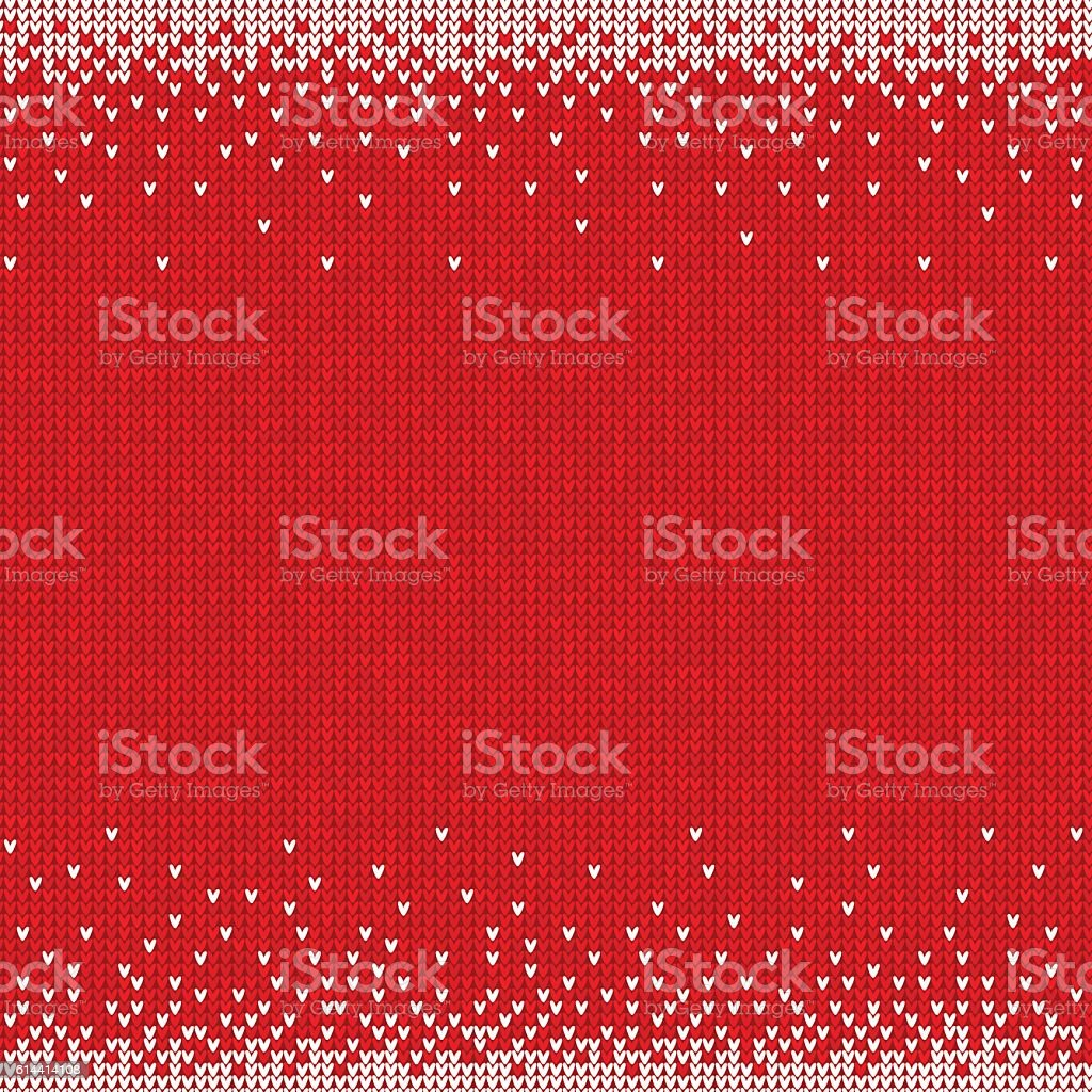 Handmade knitted seamless abstract background red pattern with white border