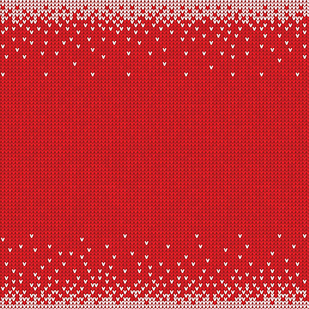 handmade knitted seamless abstract background red pattern with white border - 編む点のイラスト素材/クリップアート素材/マンガ素材/アイコン素材