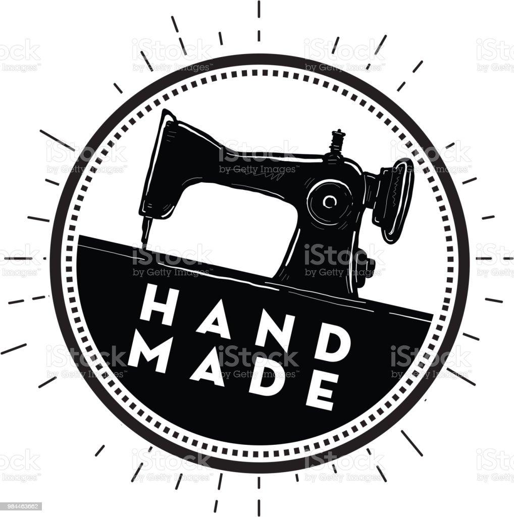 Ilustración de Diseño De Etiqueta Hecha A Mano Con La Máquina De ...