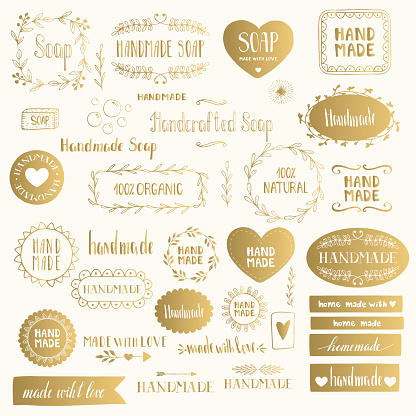 Handmade labels. Golden vector isolated.