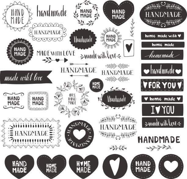 Handmade labels. Made with love icons. Vintage design elements. Vector. Isolated. Handmade labels. Made with love icons. Vintage design elements. Vector. Isolated. homemade stock illustrations