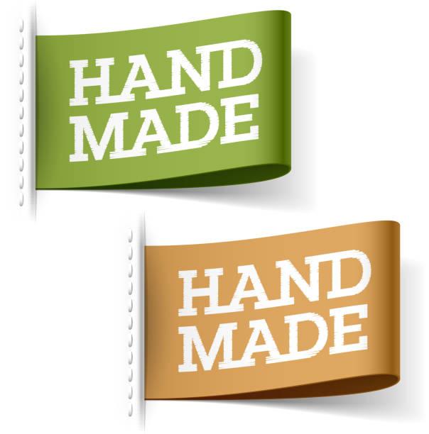 handgefertigte label - stoffmarkt stock-grafiken, -clipart, -cartoons und -symbole