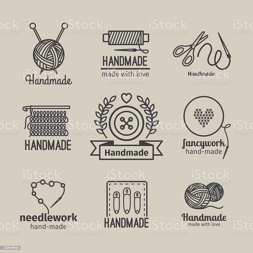 Handmade line vintage logo set vector art illustration
