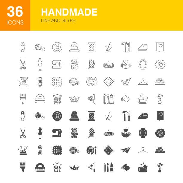 illustrazioni stock, clip art, cartoni animati e icone di tendenza di handmade line web glyph icons - tailor working