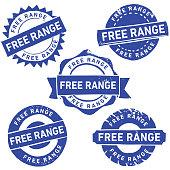 Grunge Free Range Rubber Stamp. Hand made linocut stamp.