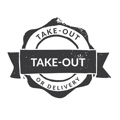 Handmade Linocut Rubber Stamp: Take-Out