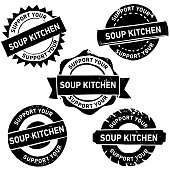 Handmade Linocut Soup Kitchen Rubber Stamp