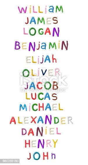 Handmade modeling clay boys names. Realistic 3d vector lettering isolated on white background. William, James, Logan, Benjamin, Elijah, Oliver, Jacob, Lucas, Michael Alexander Daniel Henry John