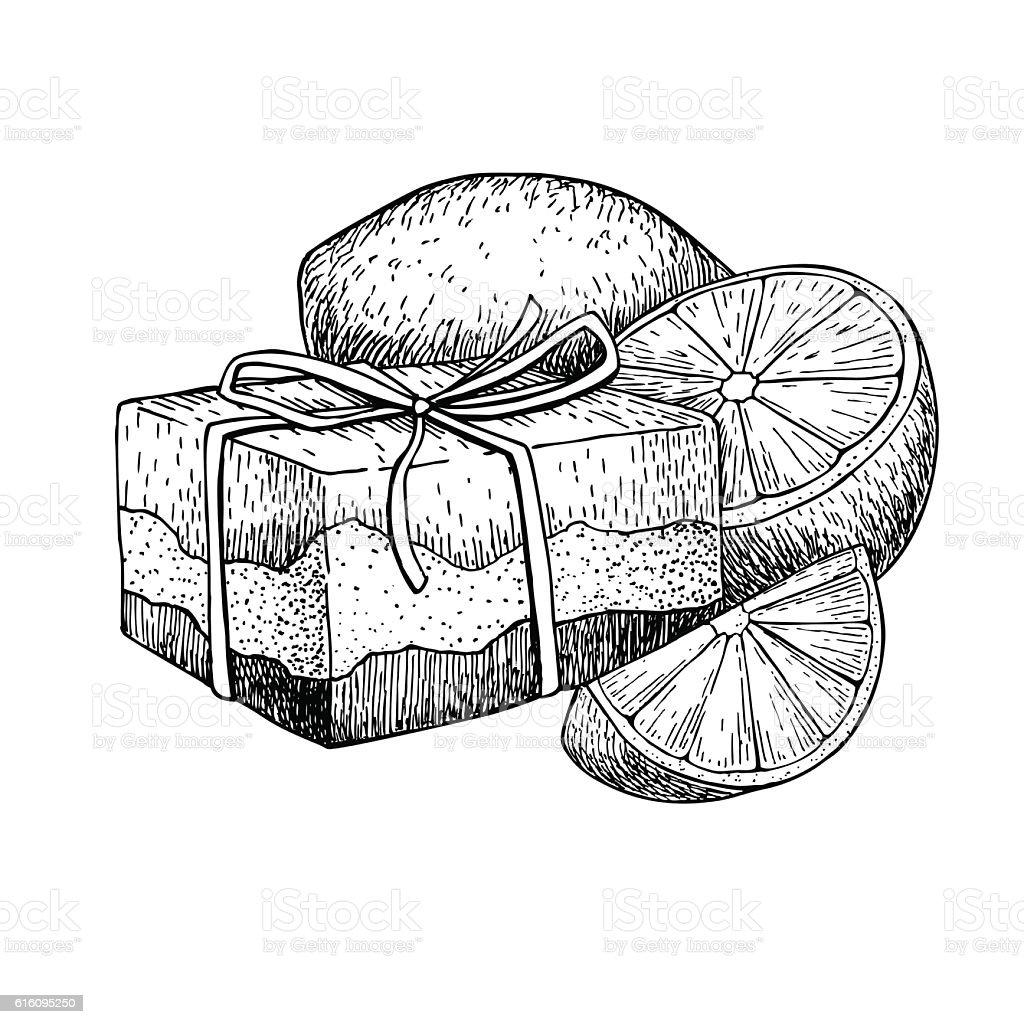 Handmade natural soap. Vector hand drawn illustration of organic vector art illustration