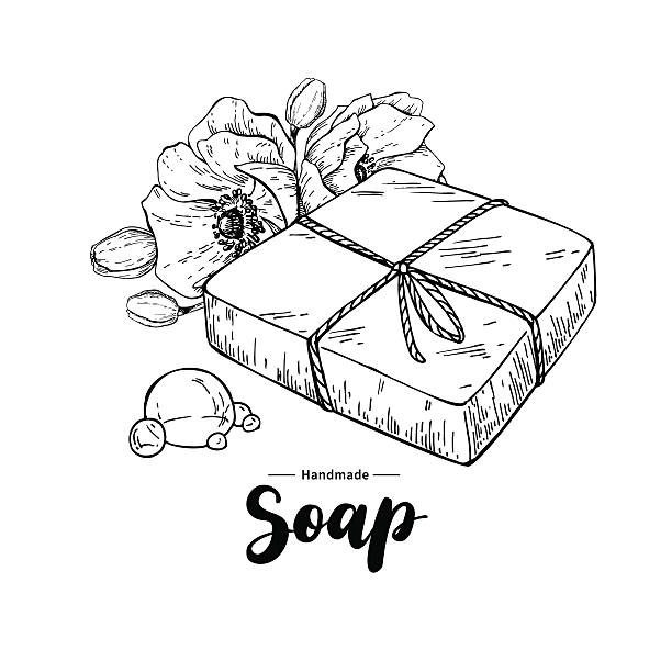 Handmade natural soap. Vector hand drawn organic cosmetic with flower vector art illustration