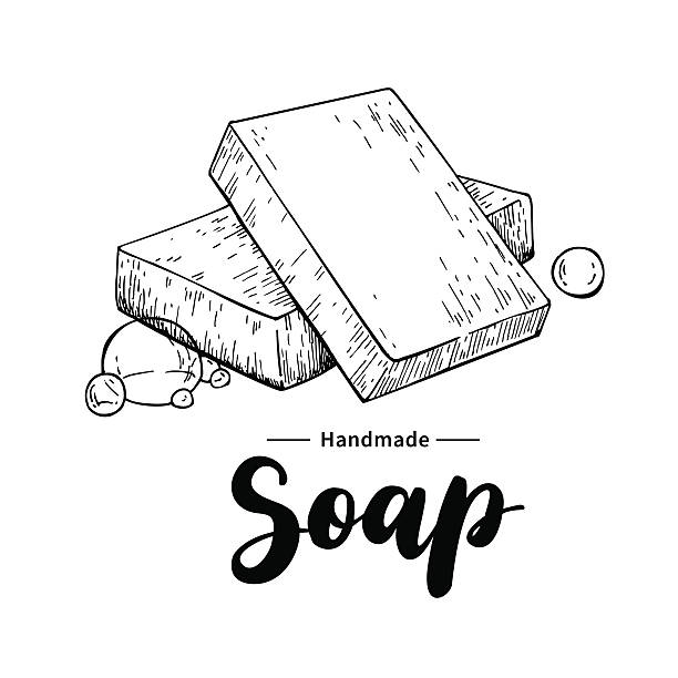 Handmade natural soap. Vector hand drawn organic cosmetic with lettering. vector art illustration