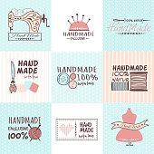 Handmade needlework badges vector set.