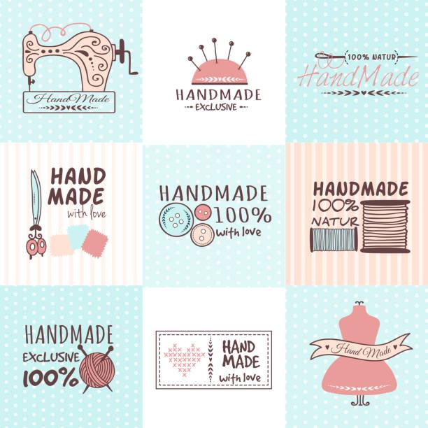 handmade needlework badges vector set. - hausgemacht stock-grafiken, -clipart, -cartoons und -symbole