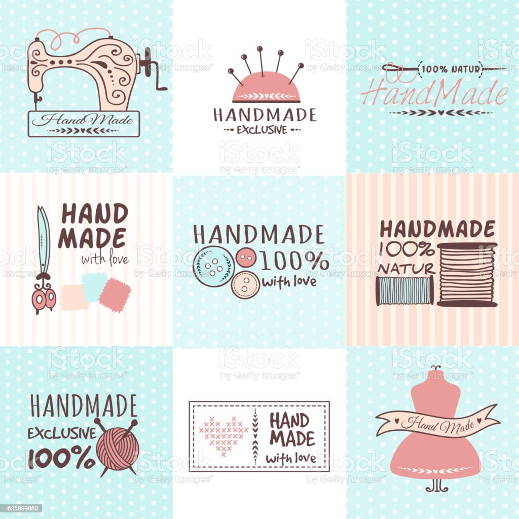Handmade needlework badges vector set. vector art illustration