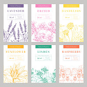 Hand made products hand drawn vector packaging templates set. Herbal cosmetics, natural beauty product branding, identity design. Eco skincare with linden, sunflower, lavender organic ingredients