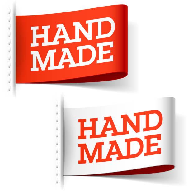 rote und weiße label handgefertigt - stoffmarkt stock-grafiken, -clipart, -cartoons und -symbole