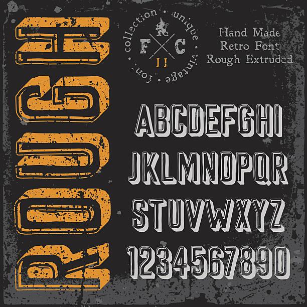 Handmade retro font vector art illustration