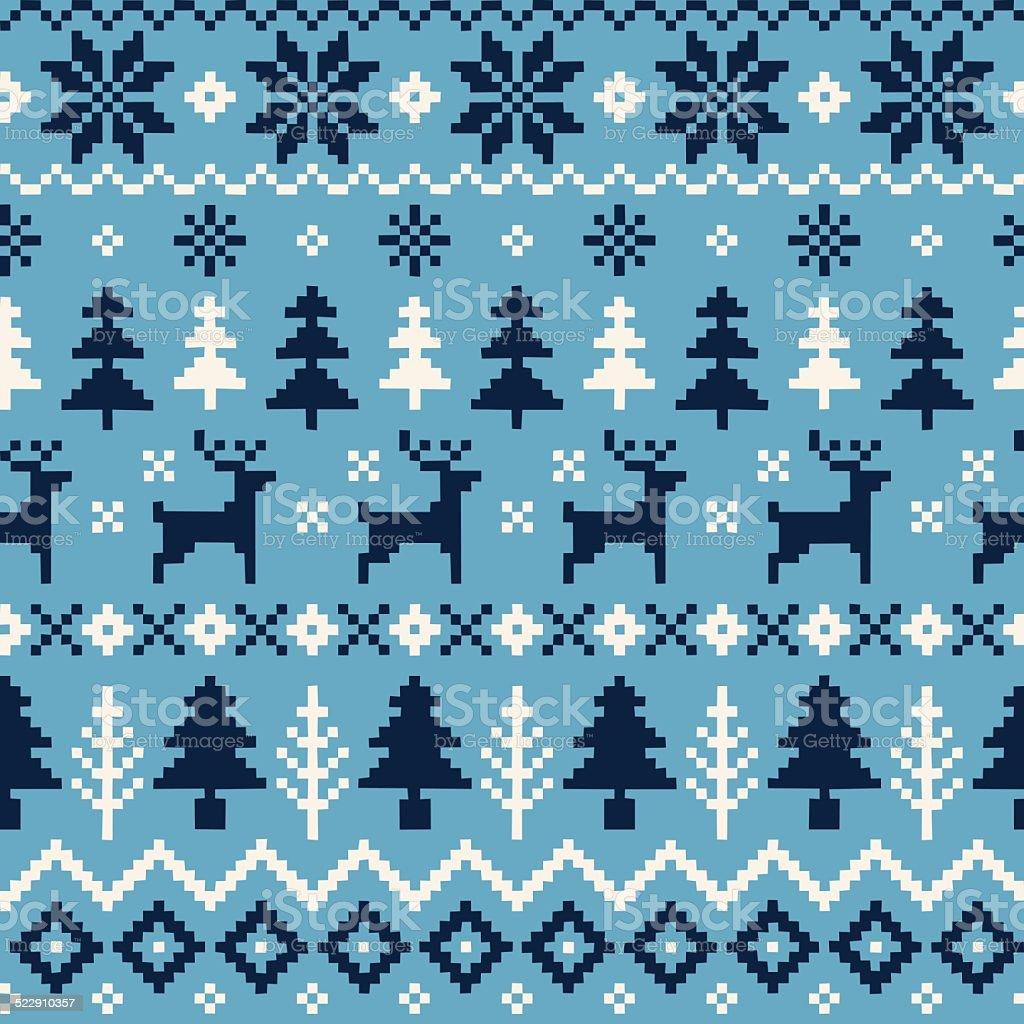 Patrón sin costuras artesanales de Navidad con renos, árboles de Navidad y Snowflakes - ilustración de arte vectorial