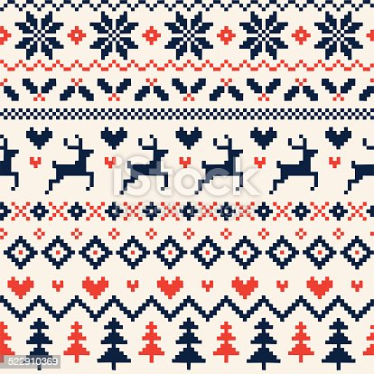 istock Handmade Seamless Christmas Pattern with Reindeer, Hearts, Christmas Trees and Snowflakes 522910369