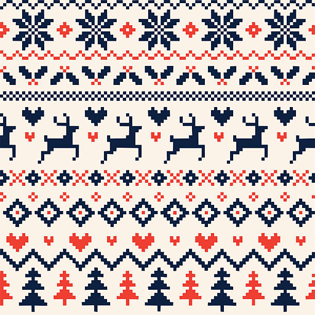handmade seamless christmas pattern with reindeer, hearts, christmas trees and snowflakes - winter fashion stock illustrations, clip art, cartoons, & icons