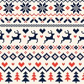 Handmade Seamless Christmas Pattern with Reindeer, Hearts, Christmas Trees and Snowflakes