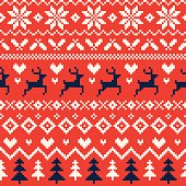 A hand illustrated seamless Christmas pattern created with imperfect square shapes to have a rough, handmade, arts and crafts feel. This pattern is perfect for your festive design project or as a background for any Christmas invitation. The squared pattern incorporates reindeer, hearts, Christmas trees and snowflakes and can be repeated both vertically and horizontally. The scalable eps10 file can also be used at any size without loss of quality.