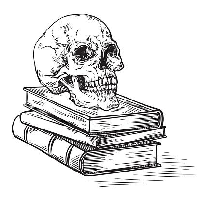 handmade sketch death concept human skull on old books on dark background vector