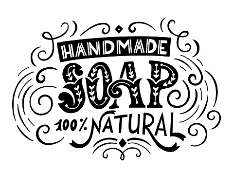 Handmade soap bar label with handdrawn lettering