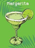 Handmade summer tropical cocktail of palm leaf background. Margarita cocktail.