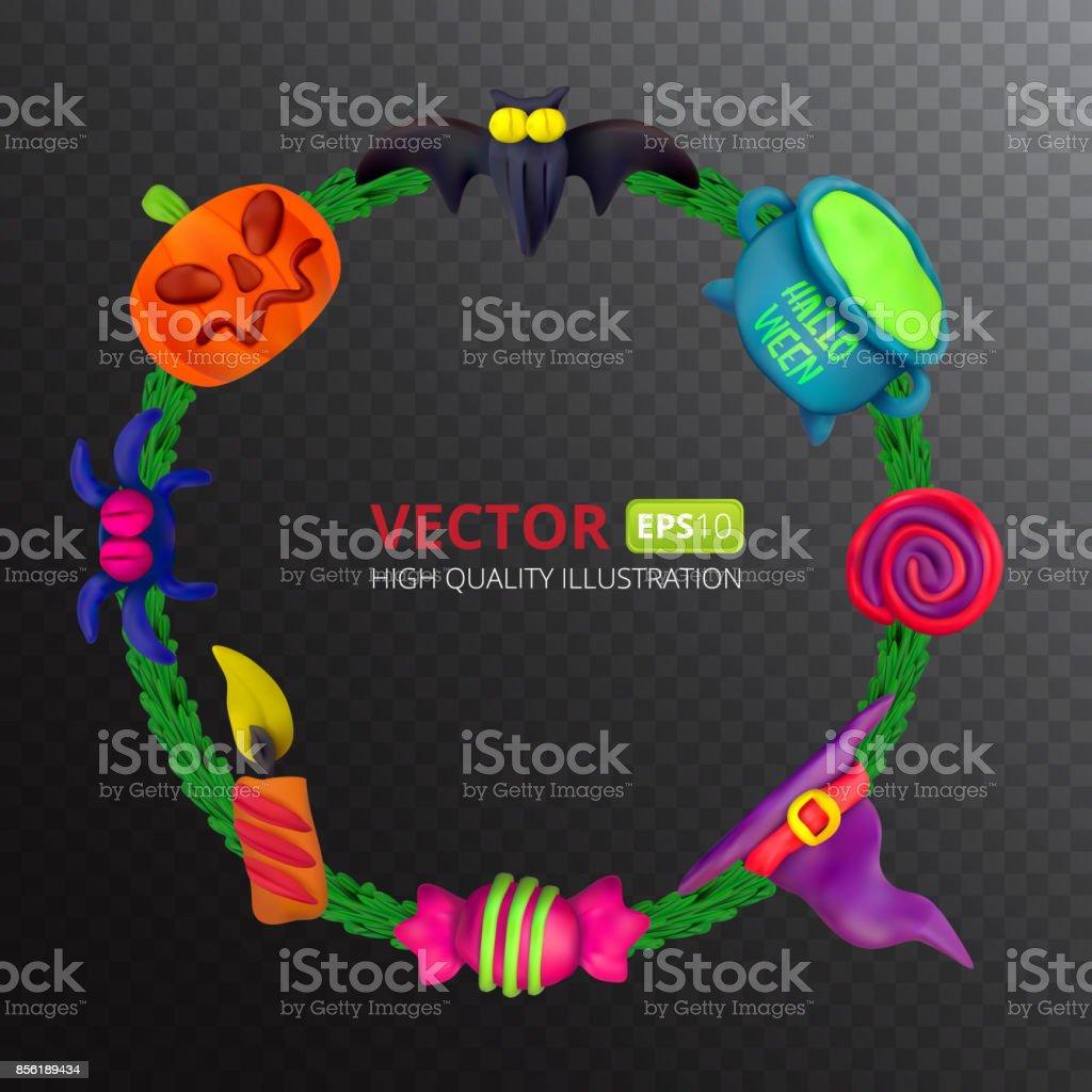 Handgemachte Vektor Plastilin Runder Rahmen Für Halloween Vektor ...