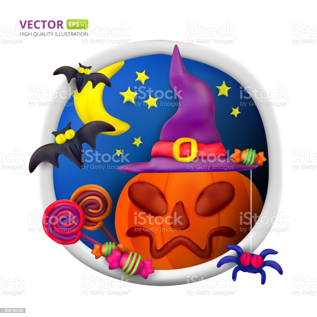 Handmade Vector Plasticine Round Greeting Card For Halloween Stock