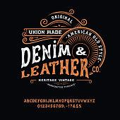 istock Handmade vintage Font Denim and Leather 1255795719