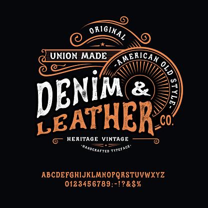 Handmade vintage Font Denim and Leather