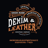 istock Handmade vintage Font Denim and Leather 1255795719