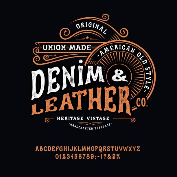 bildbanksillustrationer, clip art samt tecknat material och ikoner med handgjorda vintage font denim och läder - motorcyklist