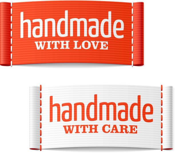 handgefertigt mit liebe und sorgfalt label - stoffmarkt stock-grafiken, -clipart, -cartoons und -symbole
