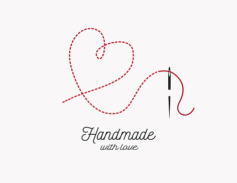 Handmade with love background vector. Needle and thread and heart shape illustration.