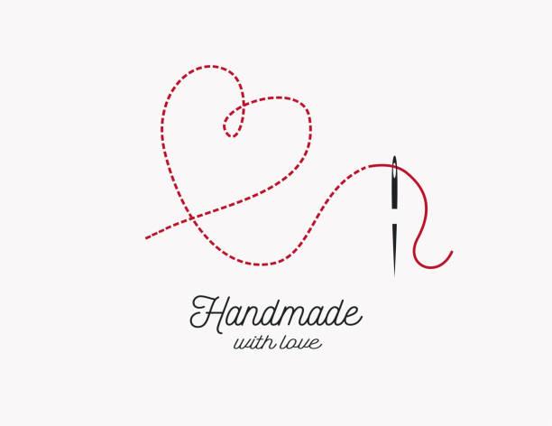 illustrazioni stock, clip art, cartoni animati e icone di tendenza di handmade with love background vector. needle and thread and heart shape illustration. - tailor working